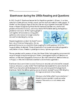 Eisenhower reading and questions