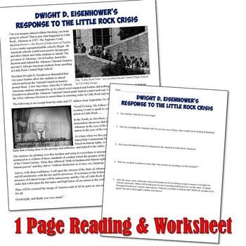 Eisenhower's Response to the Little Rock 9 Crisis Reading & Interactive Notebook