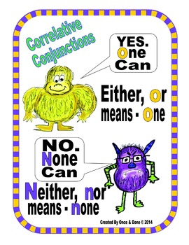 Either Or, Neither Nor, Correlative Conjunctions Center Activity