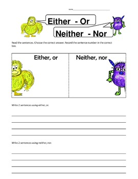 Either Or Neither Nor Correlative Conjunctions Center Activity