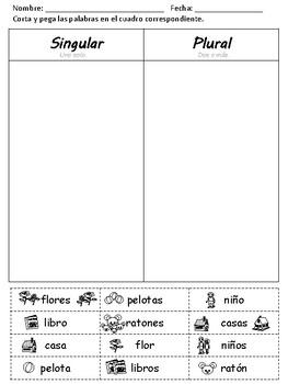 Ejercicios de palabras en singular y plural