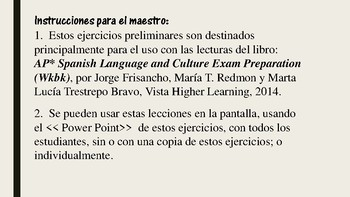 AP* Spanish: Reading 1, Vocabulary and Grammar Preliminary Exercises