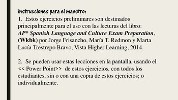 AP* Spanish: Reading 3, Vocabulary and Grammar Preliminary Exercises