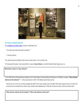 Ekphrastic Holocaust Poetry Lesson with 9/11 Poetry tie-in