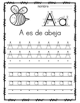 El Abecedario - Caligrafía / Spanish Alphabet   LETTER A FREEBIE!
