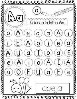 el alfabeto a z spanish letter recognition worksheets tpt. Black Bedroom Furniture Sets. Home Design Ideas