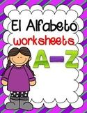 El Alfabeto:  A-Z Spanish Letter Recognition Worksheets  #teachmorespanish