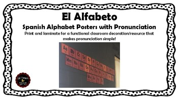 El Alfabeto Spanish Alphabet Posters with Pronunciation