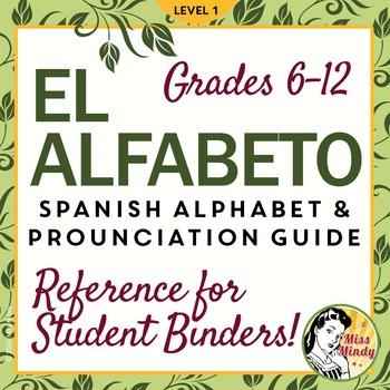 El Alfabeto Spanish Alphabet Pronunciation Guide /Student Binder Reference Sheet