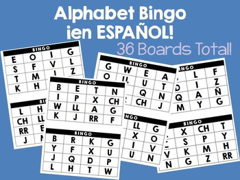 El Alfabeto (Alphabet) 36 BINGO Boards for la clase de español (Spanish class)