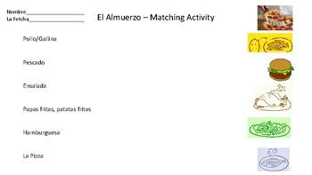 El Almuerzo: Matching Activity Sheet