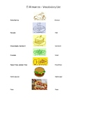 El Almuerzo Vocabulary List