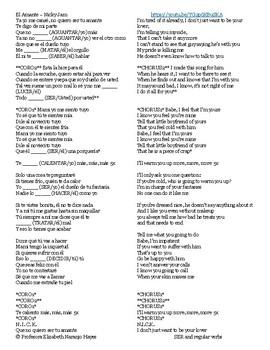 El Amante - Nicky Jam - SER and Regular Verbs