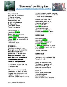 El Amante Song Lyrics & Activities in Spanish - Nicky Jam Musica