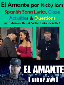 El Amante Song Lyrics & Activities in Spanish - Nicky Jam Musica