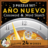 Año Nuevo: Spanish New Year Crossword Word Search Puzzle Set