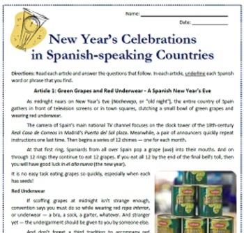 El Año Nuevo: New Year's in Spanish-speaking Countries Reading & Substitute Plan