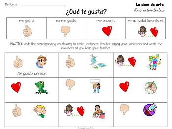 El Arte / Spanish Art Class Activity Packet