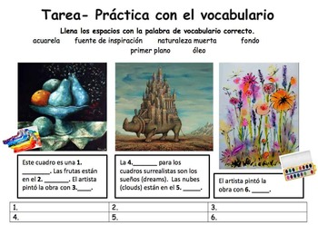 El Arte- Vocabulary and Authentic Listening Practice