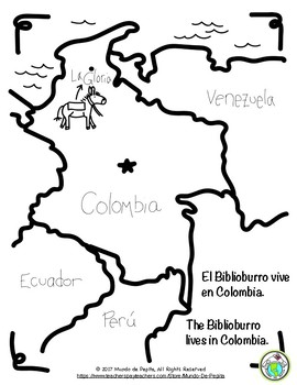El Biblioburro Bilingual Spanish and English Coloring Book on map of suriname coloring page, map of oceans coloring book, map of ecuador for coloring, map of columbia coloring page, venezuela national flag color sheet, map of greece coloring sheet, a map of ancient india coloring sheet, atlantic ocean color sheet,