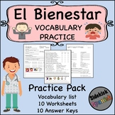 El Bienestar Vocabulary Worksheets in Spanish (Emotions, D