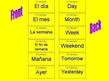El Calendario Spanish Calendar Flash Cards