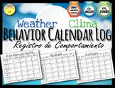 English + Spanish  + Dual Language Behavior Calendar log -  Registro de Conducta