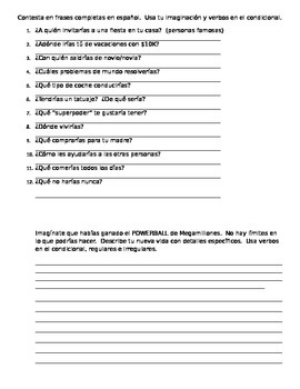 El Condicional : Notes and Practice Packet (Conditional Tense)