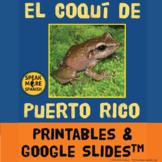 El Coquí de Puerto Rico. Spanish Lesson Plans with Printables & Google SlidesTM