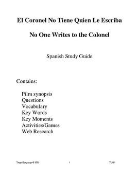 El Coronel No Tiene-Spanish Study Guide
