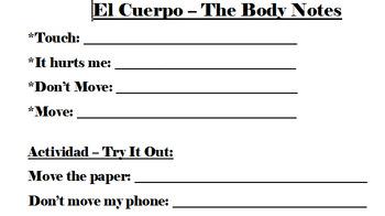 El Cuerpo (Body Parts) Notes