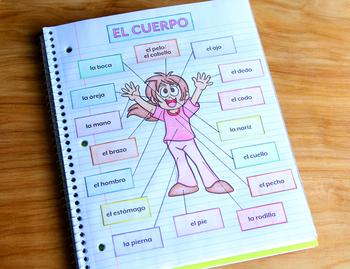 El Cuerpo (Body Parts) Spanish Interactive Notebook Activity