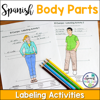 El Cuerpo (Body Parts) Spanish Labeling Activities