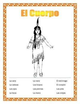 Thanksgiving -Body Parts in Spanish-El Cuerpo
