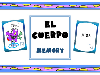 El Cuerpo Concentration Game– The Body Vocabulary Spanish