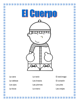 Winter Theme- El Cuerpo- Vocabulary Unit & Label Body Parts & Word Search/Puzzle