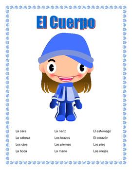Winter Theme- El Cuerpo- Vocabulary Unit & Label Body Part