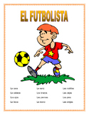 "El Cuerpo- Label ""El Futbolista""- Spanish Body Parts & Word Search &  Puzzle"