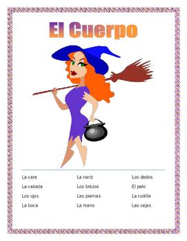 """El Cuerpo- Label """"La Brujita""""- Spanish Body Parts -Word Se"""