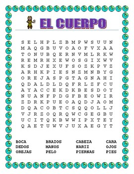 "El Cuerpo-""Planeta Tierra""-Label Body Parts,/Word Search/Double Puzzle-Earth Day"