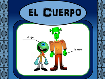 El Cuerpo -Spanish Body Vocabulary Presentation and Worksheets