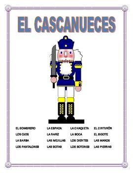 """El Cuerpo y La Ropa-Label """"El Cascanueces""""- Body Parts/Word Search/Double Puzzle"""