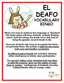 El Deafo Vocabulary Bingo