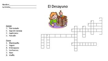El Desayuno Crossword Activity