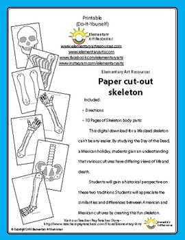 Full Size Life Cutout Skeleton Halloween - Day of the Dead - Elementary Arts