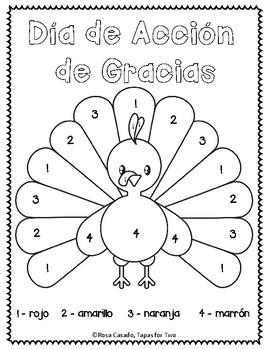 El Dia de Accion de Gracias Color by Number FREEBIE