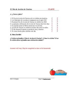 El Día de Acción de Gracias Lectura - Thanksgiving Spanish Reading + Handout