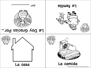 El Dia de Accion de Gracias Spanish Thanksgiving Mini Books - Spanish, Bilingual