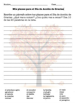 El Día de Acción de Gracias/Thanksgiving - Vocabulario y Actividades