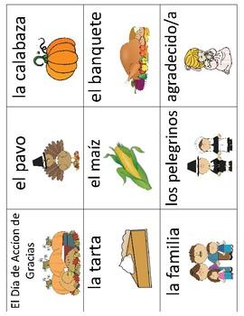 El Dia de Accion de Gracias - Thanksgiving Vocabulary Cards & Mini Books BUNDLE